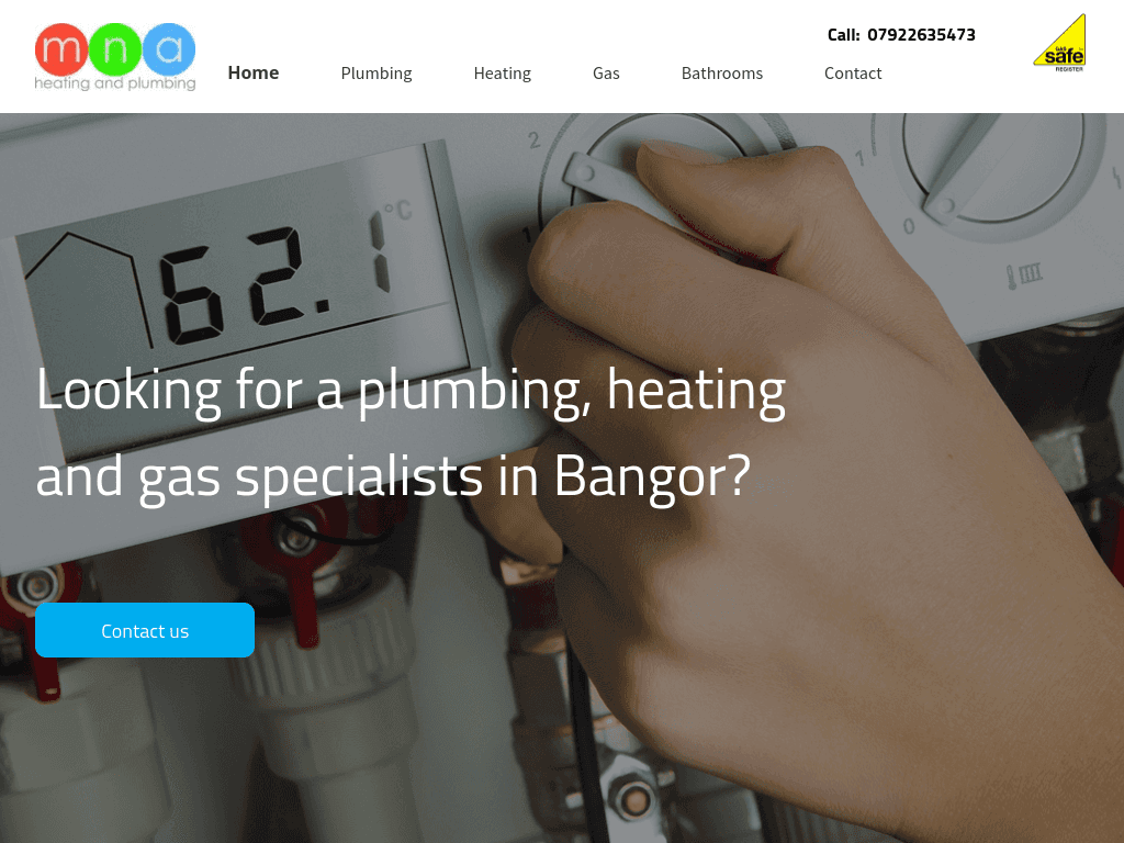 MNA PLumbing & Heating website