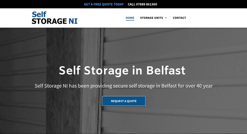 Website for Self Storage NI in Belfast