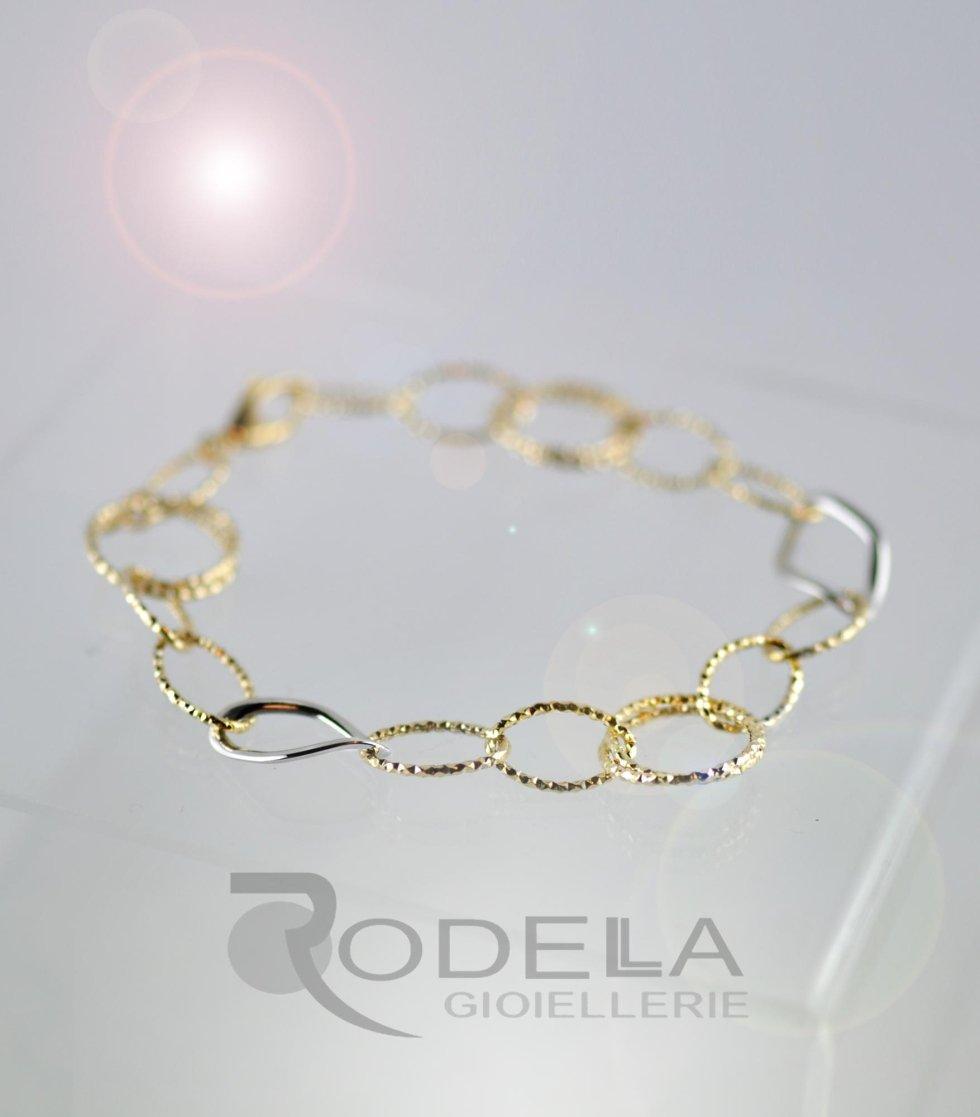 Bracciale donna in oro bianco e oro giallo