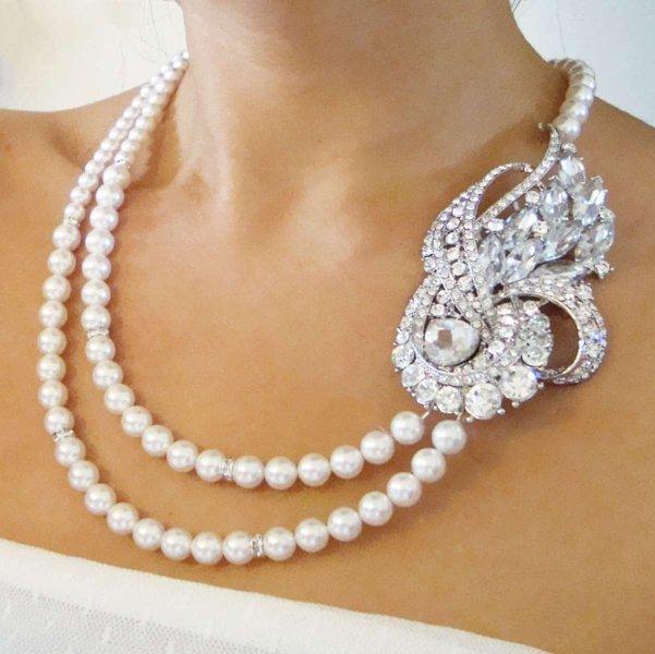 modella indossa una collana di perle con grande gioiello sul lato sinistro