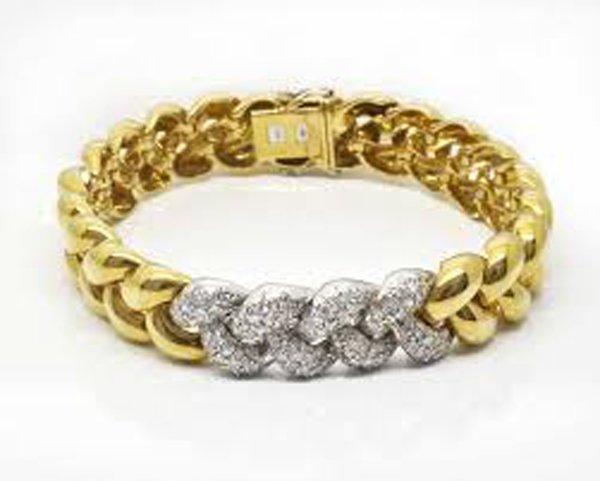 bracciale a treccia in oro e argento