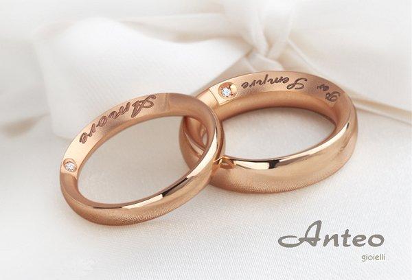 fedi nuziali con nomi degli sposi