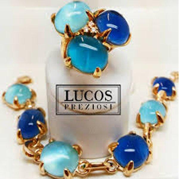 LUCOS preziosi anello e bracciale con pietre azzurre e blu