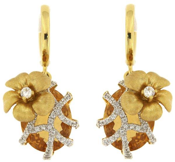 orecchini con fiori e cristalli