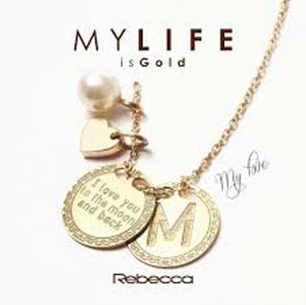 collana My Life is Gold ciondolo con M