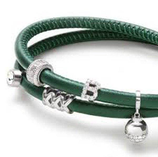 braccialetto con cinturino in pelle color verde scuro