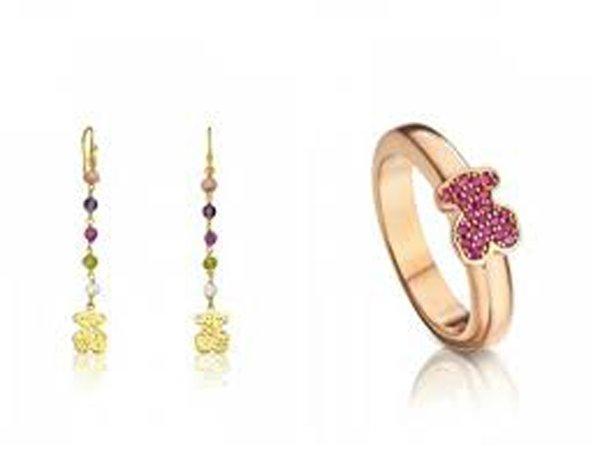 orecchini pendenti e braccialetto con orsacchiotto viola