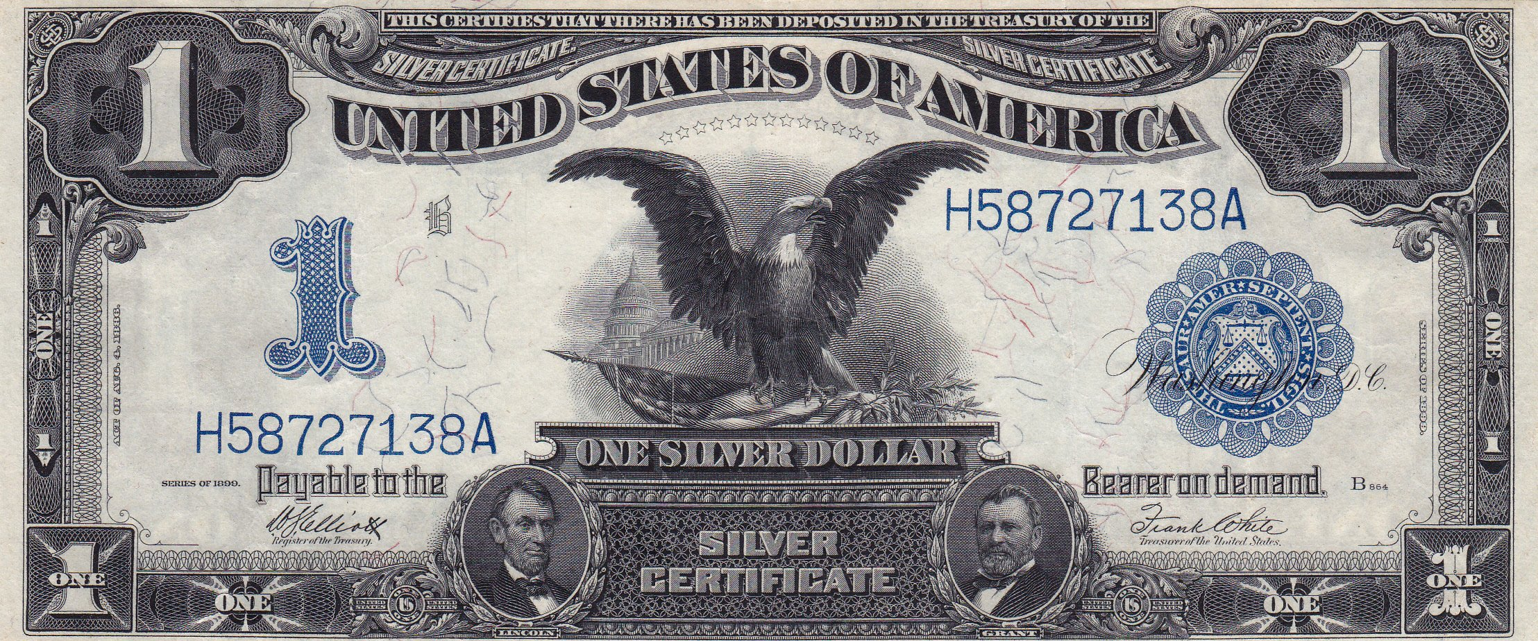 A coin stamp gallery inc jacksonville fl currency 1 silver certificate black eagle 1899 xflitez Choice Image