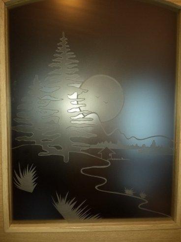 vetro fisso satinato decorato in sabbiatura