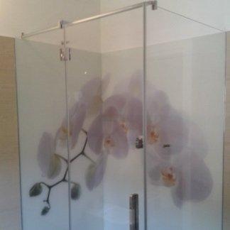 box doccia con fondale laccato e stampa digitale
