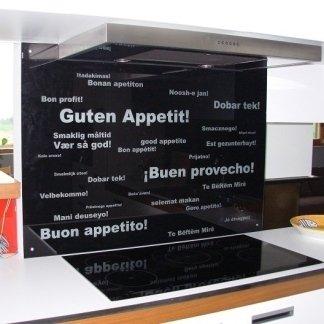 fondale cucina in cristallo laccato nero+scritte
