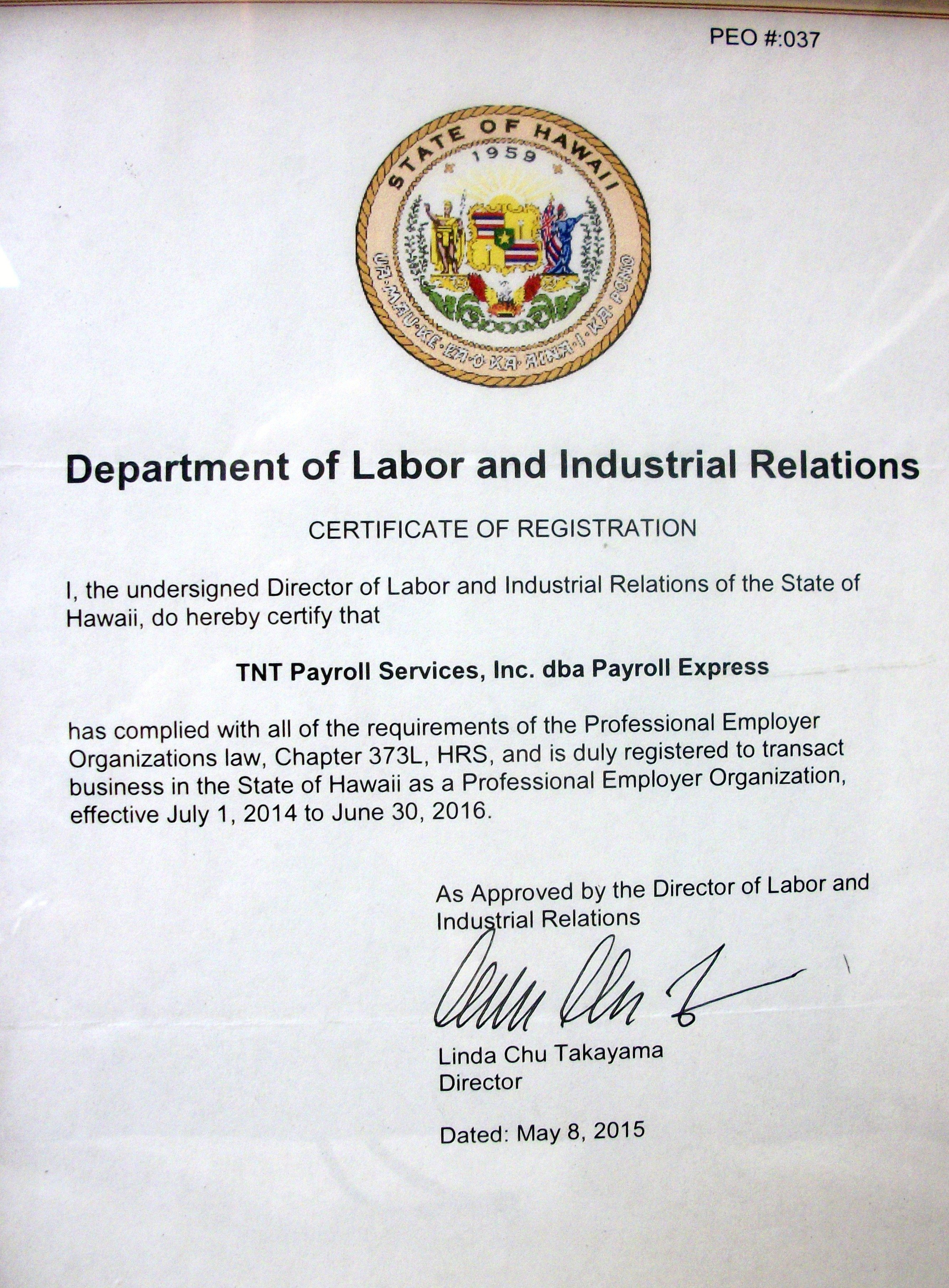 TNT Payroll Services certification of registration by state of Hawaii