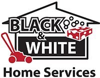 black and white home services business logo
