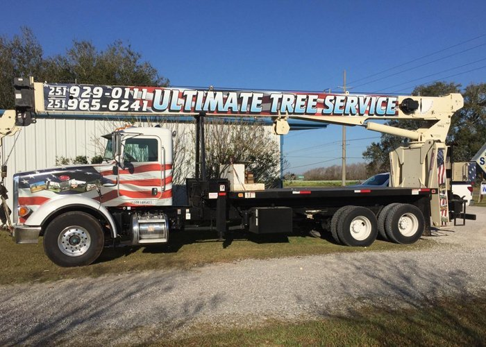 Tree trimming crane with vehicle wrap