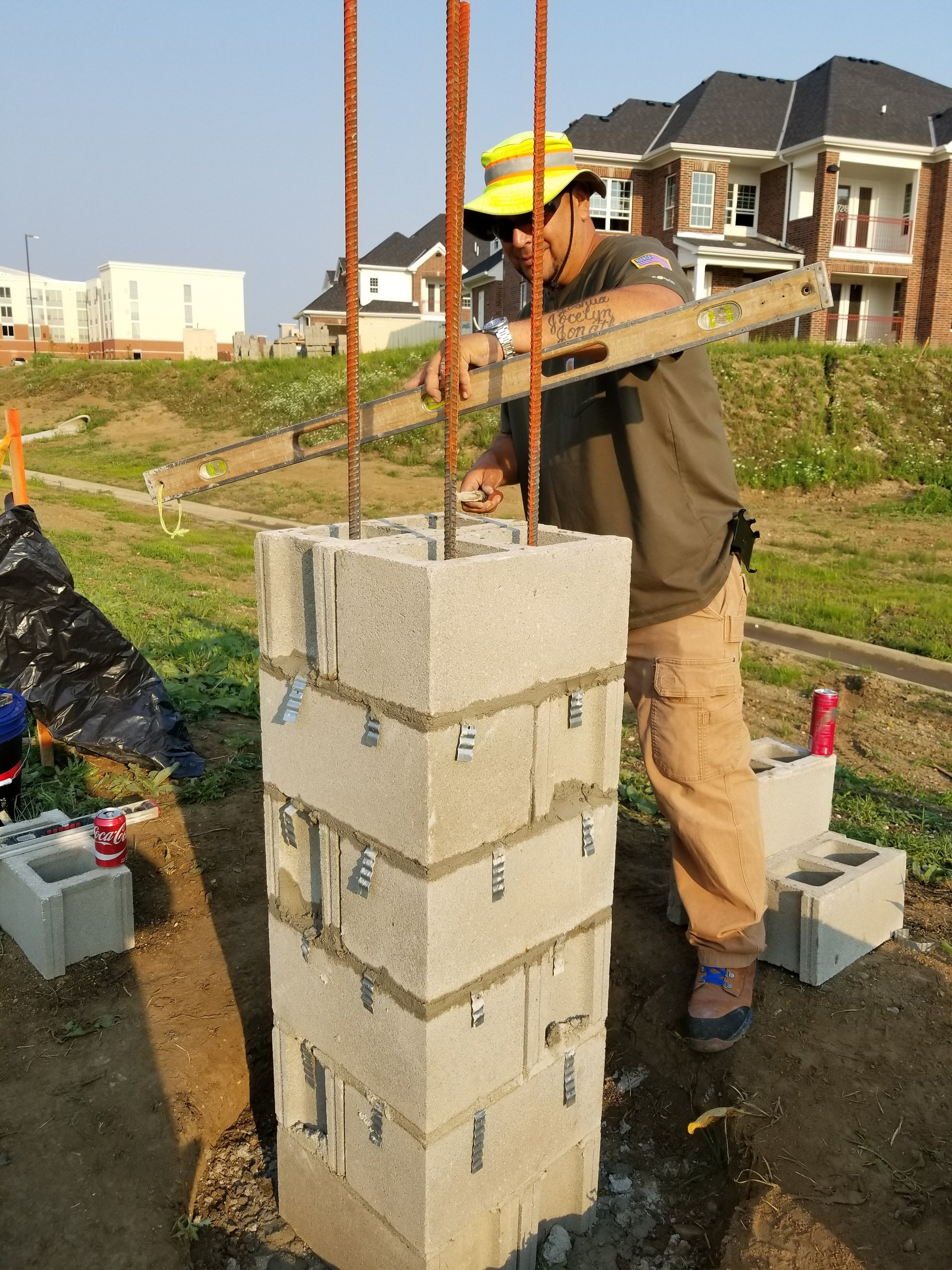 brick columns in Spring,TX., brick column perimeter fencing, stone columns in Tomball,TX., stone coulmn in Woodlands, brick column repair in Champion Forest, brick column with block in the middle, strong brick columns Houston,TX.