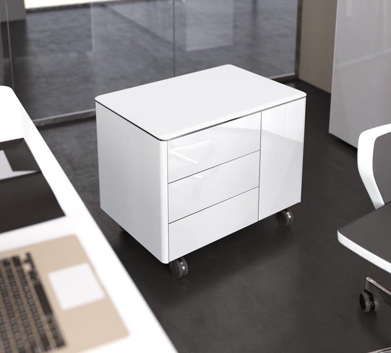 cassettiera bianca lucida di design con rotelle