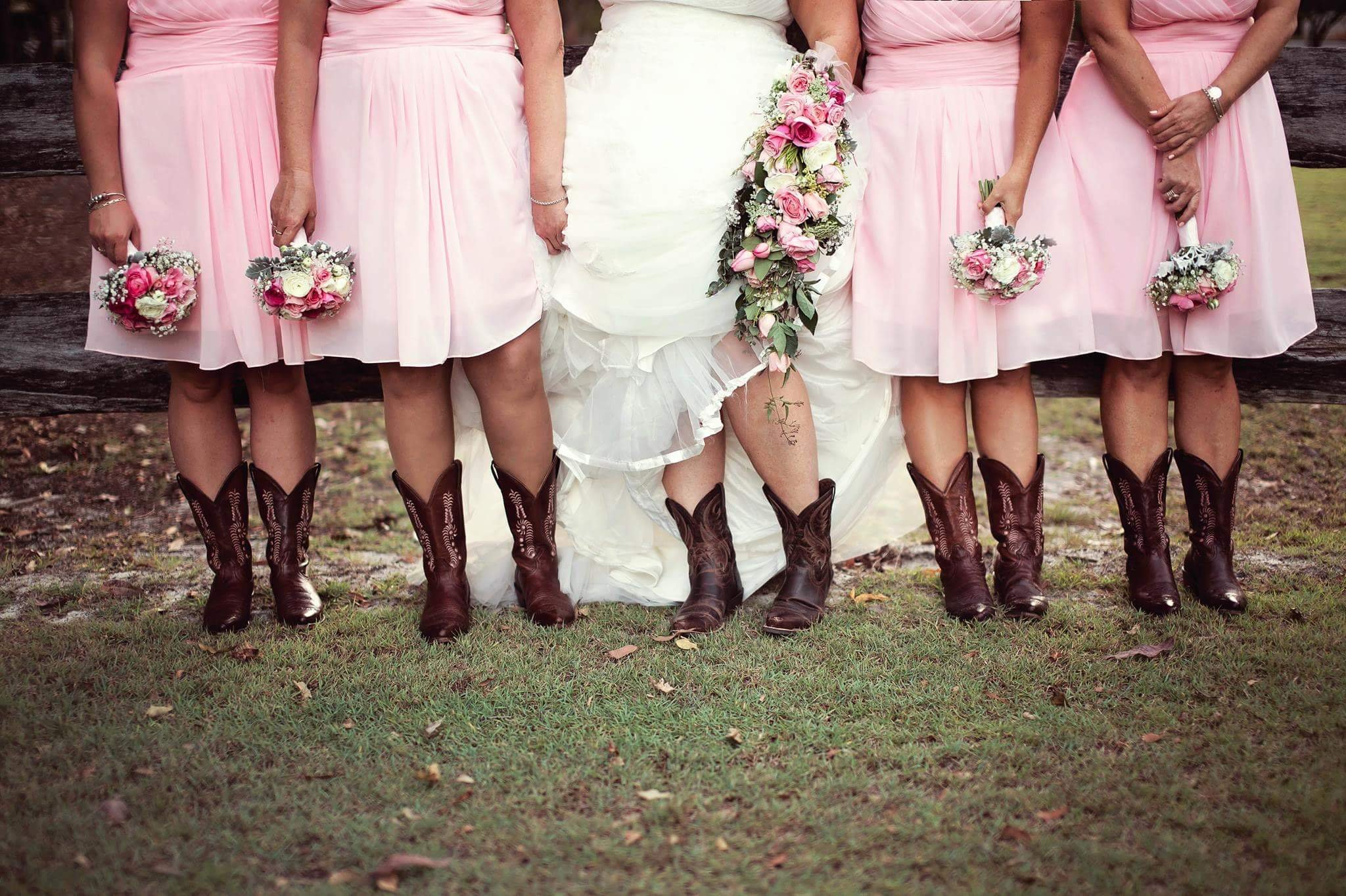 Bride and the groom with bridesmaid