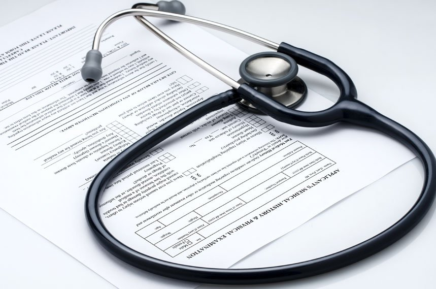 Stethoscope on a medical document