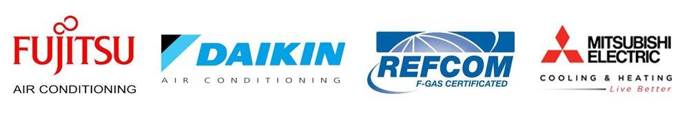 FUJITSU, DAIKIN, REFCOM and MITSUBISHI ELECTRIC logos