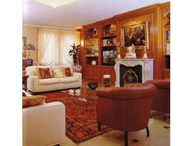 living room with fireplace and marble