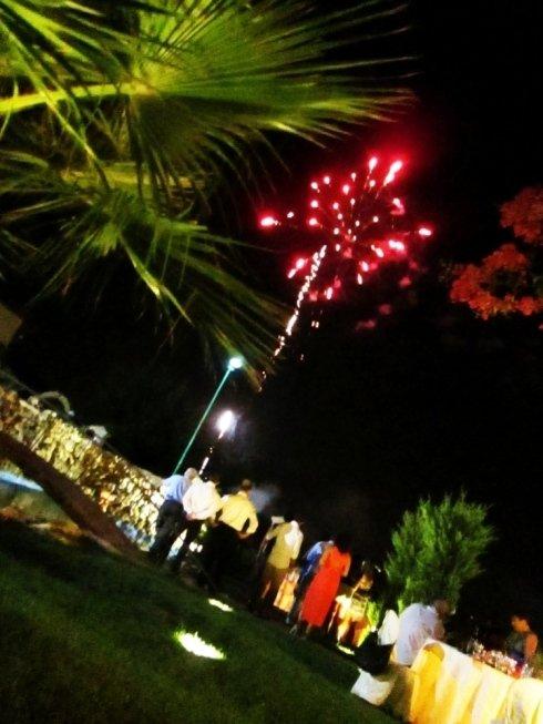 Delle persone in giardino mentre guardano dei fuochi d'artificio nel cielo