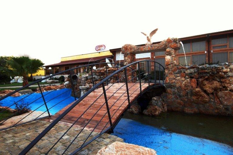 Un ponte sopra a una fontana e davanti una villa