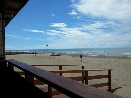 vista laterale di una spiaggia