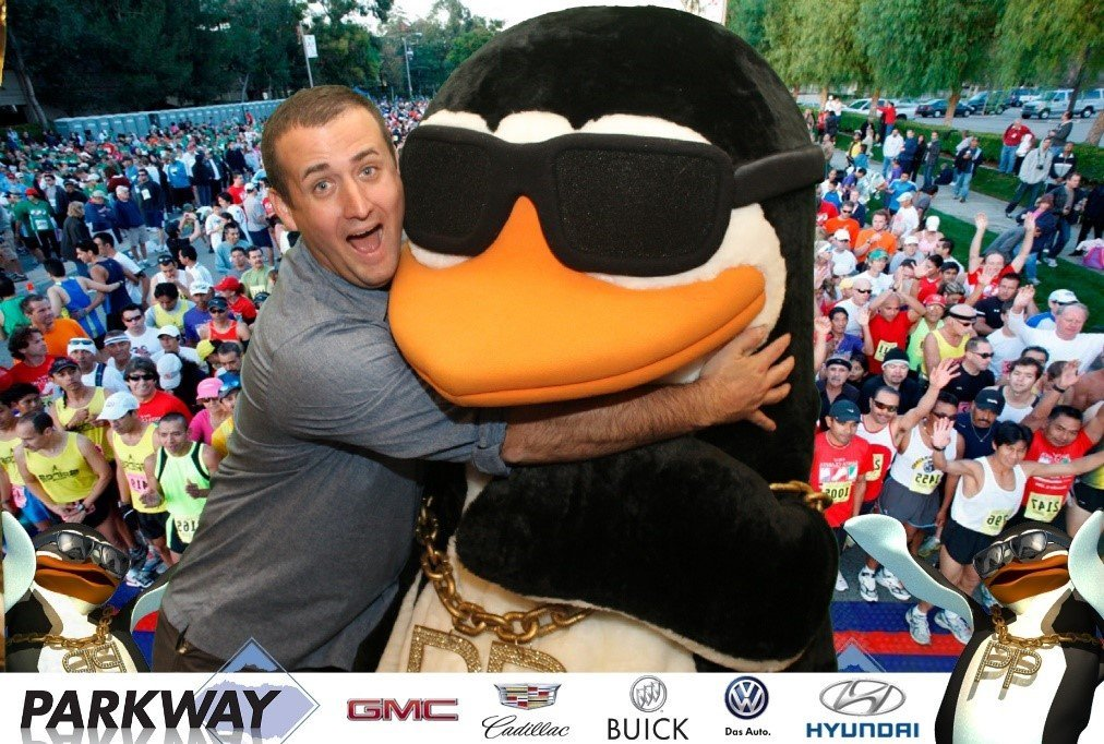 Lovin the Penguin at an event Green Screen Photos