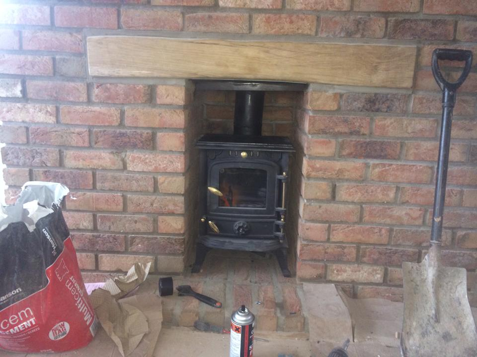black fireplace installed