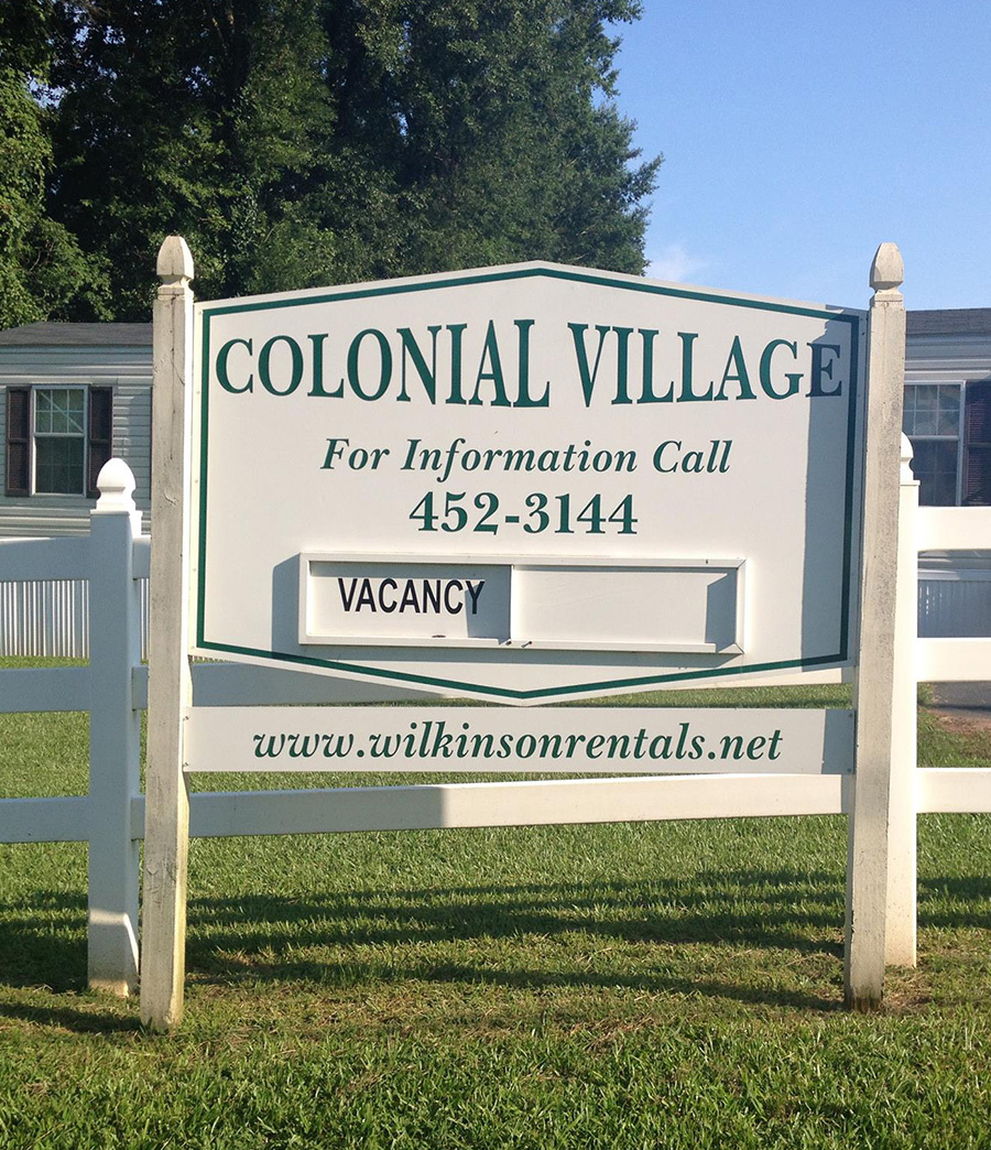 Collonial Village Wilkinson Rentals entrance