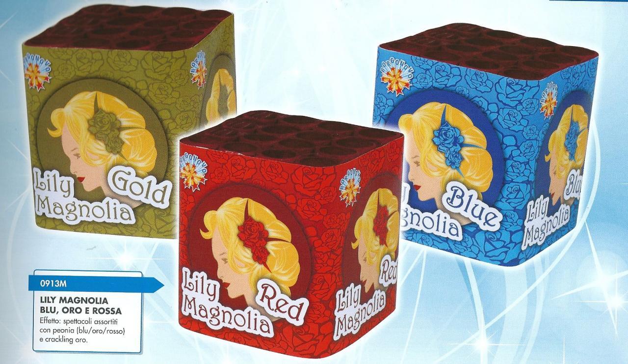 scatoli di fuochi artificiali LILI MAGNOLIA GOLD -LILI MAGNOLIA RED-LILI MAGNOLIA BLUE