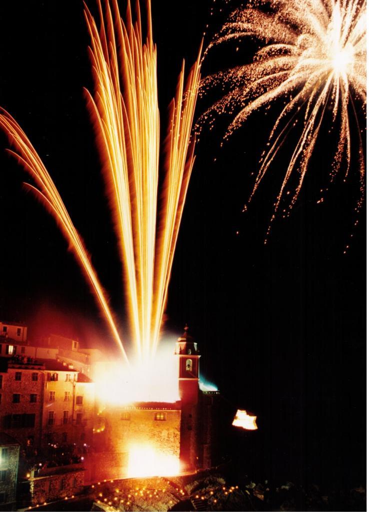 vista di case con fuochi d'artificio sfondo nero