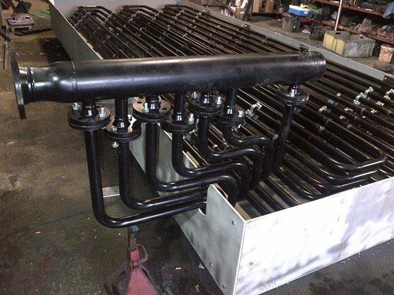 black metal boiler pipes
