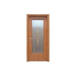 porta in vetro e legno con decorazione