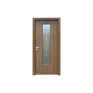 porta in legno con pannello in vetro