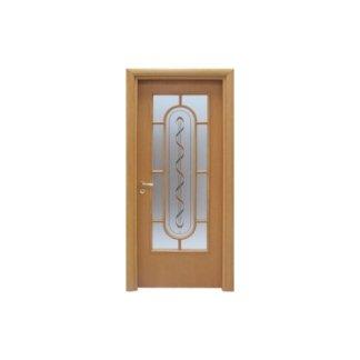 porta in pino e vetro decorato