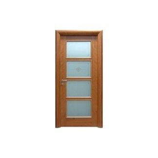 porta per interni in legno chiaro e vetro