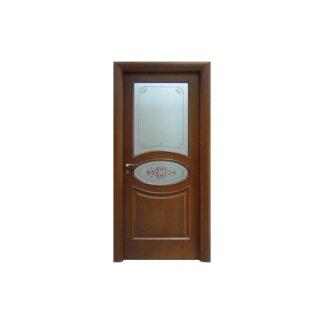 porta in legno scuro con vetro