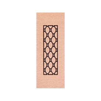 pannello in legno bianco con decorazione geometrica nera