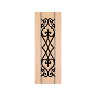 pannello in legno chiaro con decorazione nera