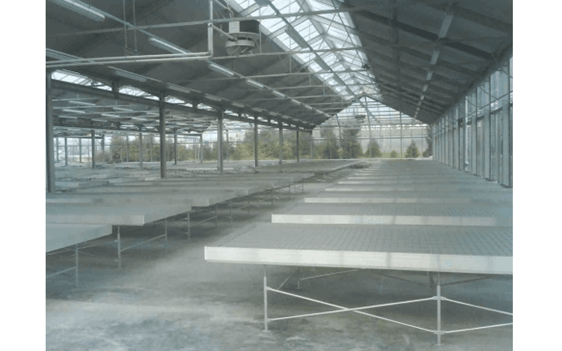 Metal benches for greenhouses