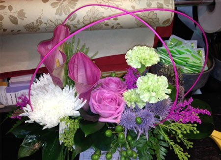 pink, purple and green flowers