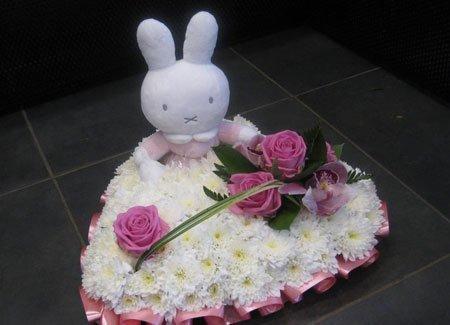 rabbit and heart shape flower