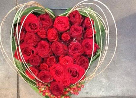 heart shape flower bouquet of red flowers