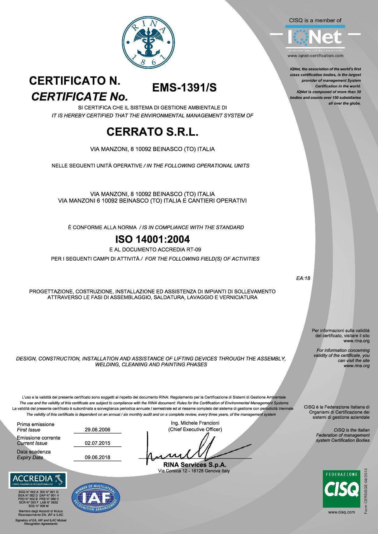 Certifications for Cerrato srl in Beinasco