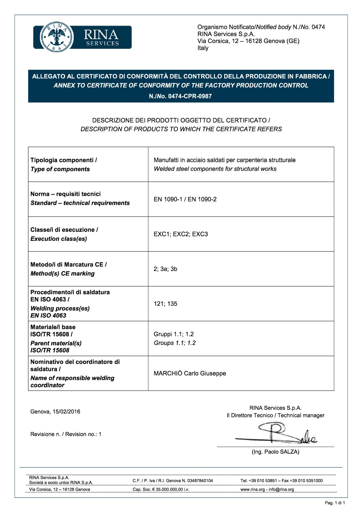 Certifications for Cerrato srl in Beinasco
