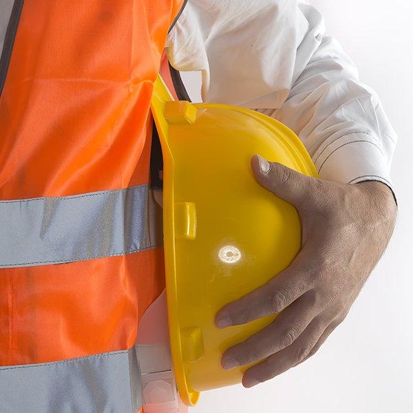 Worker with safety helmet in Beinasco