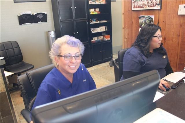 the receptionists at Lakeside Animal Clinic in Houston