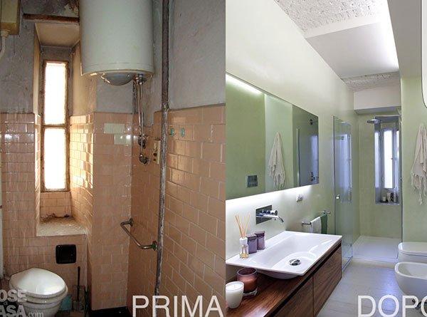 un bagno prima e dopo una ristrutturazione