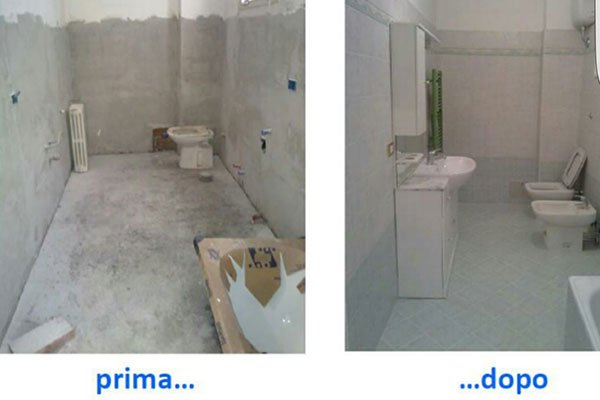 il prima e il dopo una ristrutturazione di un bagno
